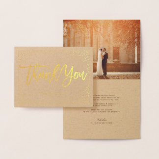 Cartão Metalizado Obrigado chique escovado quadro do casamento dos