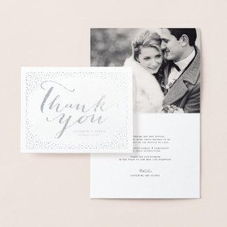 Cartão Metalizado Obrigado chique moderno do casamento do quadro dos