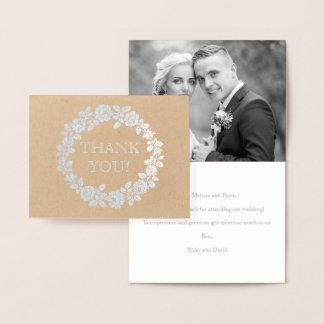 Cartão Metalizado Obrigado cor-de-rosa do casamento você prata da