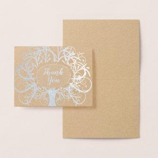 Cartão Metalizado Obrigado da árvore do redemoinho da folha de prata