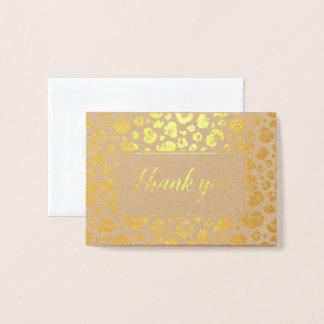 Cartão Metalizado Obrigado da folha de ouro do impressão do leopardo