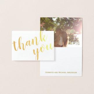 Cartão Metalizado Obrigado da folha de ouro você com foto e nome