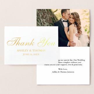 Cartão Metalizado Obrigado da foto do casamento você ouro