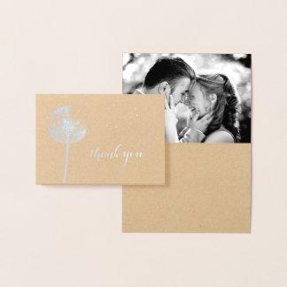 Cartão Metalizado Obrigado da foto do dente-de-leão da folha de