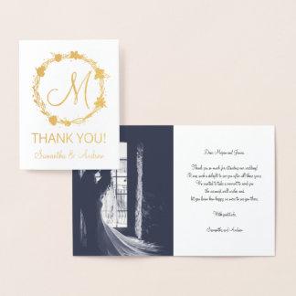 Cartão Metalizado Obrigado da grinalda do ouro do monograma você