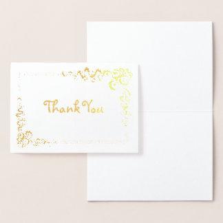 Cartão Metalizado Obrigado de canto da beira do rolo você padrão