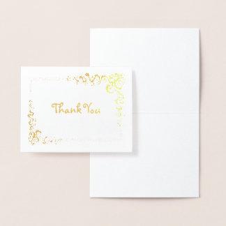 Cartão Metalizado Obrigado de canto da beira do rolo você pequeno
