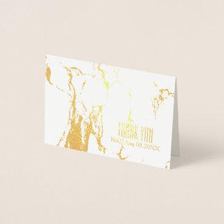 Cartão Metalizado obrigado de mármore branco do casamento