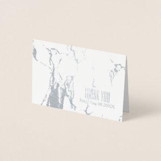 Cartão Metalizado Obrigado de mármore branco do casamento simples