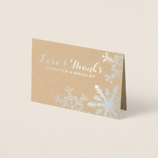 Cartão Metalizado Obrigado de prata do casamento no inverno dos