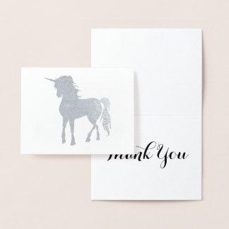 Cartão Metalizado Obrigado de prata do unicórnio você