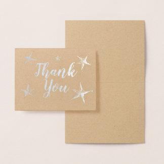 Cartão Metalizado Obrigado de Stafish da folha de prata você