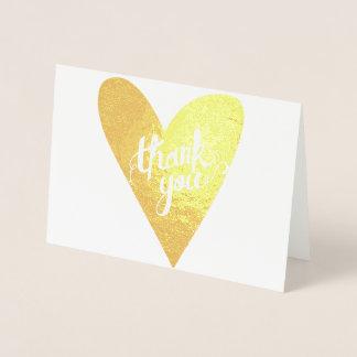 Cartão Metalizado Obrigado desenhado mão da tipografia do coração da