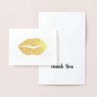 Cartão Metalizado Obrigado do batom do ouro você