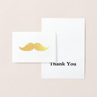 Cartão Metalizado Obrigado do bigode do ouro você