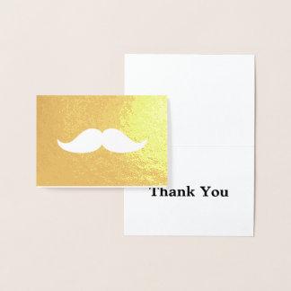 Cartão Metalizado Obrigado do bigode você ouro