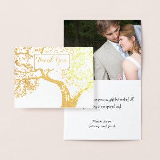 Cartão Metalizado Obrigado do casamento da árvore das iniciais da