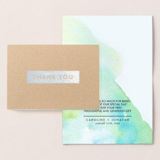 Cartão Metalizado Obrigado do casamento da folha de prata da
