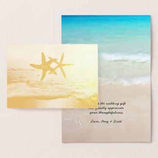 Cartão Metalizado Obrigado do casamento de praia da estrela do mar