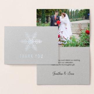Cartão Metalizado Obrigado do casamento no inverno do floco de neve