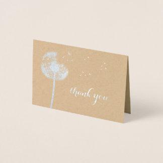 Cartão Metalizado Obrigado do dente-de-leão da folha de prata você