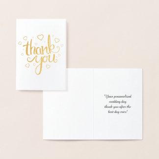 Cartão Metalizado Obrigado do ouro você tipografia da caligrafia