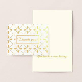 Cartão Metalizado Obrigado do teste padrão de flores da arte popular