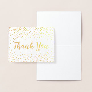Cartão Metalizado Obrigado dos confetes da folha de ouro você