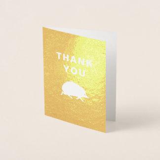 Cartão Metalizado Obrigado dourado do ouriço feliz você notas