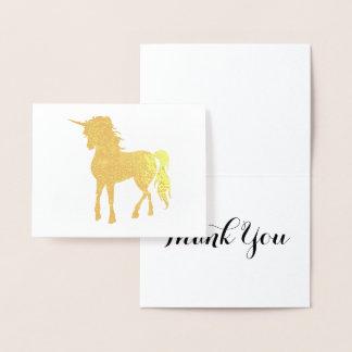 Cartão Metalizado Obrigado dourado do unicórnio você