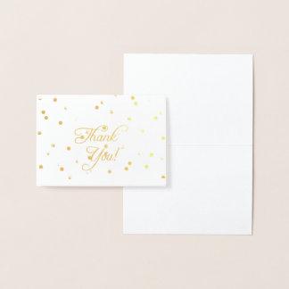 Cartão Metalizado Obrigado elegante da folha de ouro você notas
