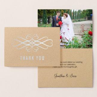 Cartão Metalizado Obrigado elegante da foto dos redemoinhos da folha