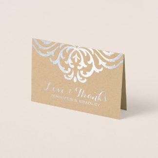 Cartão Metalizado Obrigado elegante do casamento de Kraft do damasco