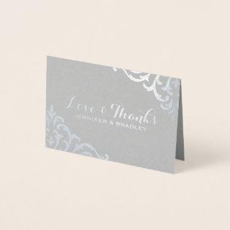 Cartão Metalizado Obrigado elegante do casamento do damasco da folha