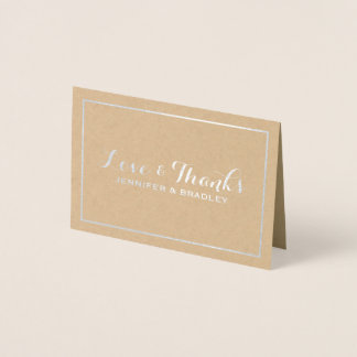 Cartão Metalizado Obrigado elegante simples do casamento de Kraft da