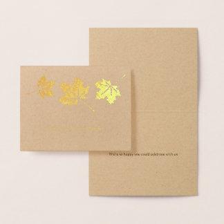 Cartão Metalizado Obrigado elegante simples do casamento outono das