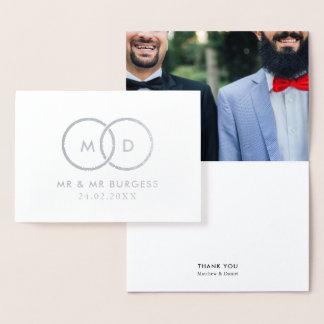Cartão Metalizado Obrigado feito sob encomenda da foto do casamento