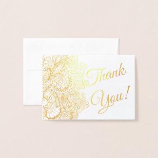 Cartão Metalizado Obrigado filigrana laçado da folha dos sentimentos