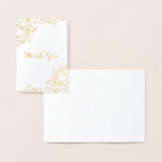 Cartão Metalizado Obrigado floral do canto do redemoinho você