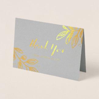 Cartão Metalizado Obrigado floral do ouro você