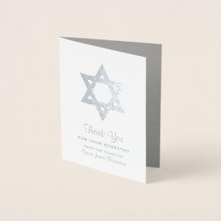 Cartão Metalizado Obrigado judaico da simpatia você estrela David da