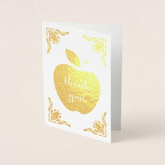 Cartão Metalizado obrigado maçã floral