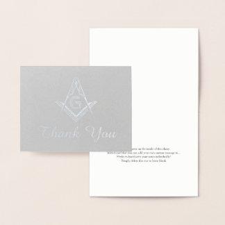 Cartão Metalizado Obrigado maçónico feito sob encomenda você carda a