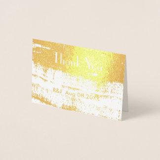 Cartão Metalizado Obrigado minimalista simples do casamento você