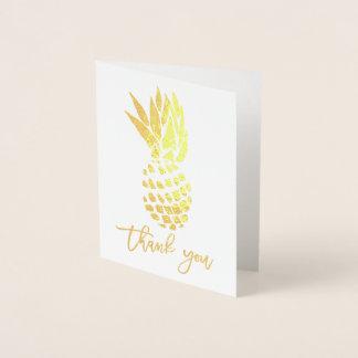 Cartão Metalizado Obrigado moderno da folha de ouro você abacaxi da