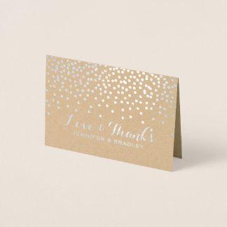 Cartão Metalizado Obrigado moderno de Kraft dos pontos dos confetes