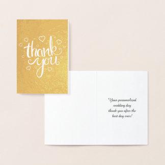 Cartão Metalizado Obrigado ouro da tipografia da caligrafia