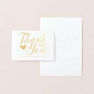 Cartão Metalizado Obrigado personalizado real lunático da folha de