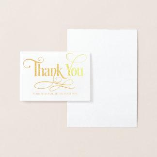 Cartão Metalizado Obrigado personalizou a folha de ouro real