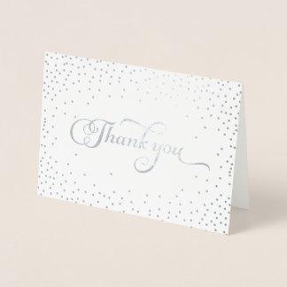 Cartão Metalizado Obrigado pontos modernos dos confetes da folha de